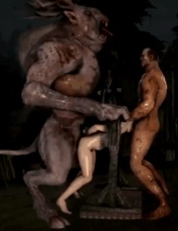 Babe in pillory gets brutal sex with two monsters