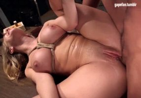 Blonde tied up and ass fucked