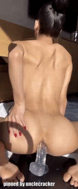Ebony dildo fucking her ass