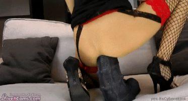Giant dildo gaping that MILF ass.