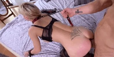 Leashed ass fuck