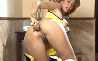 Milly is so horny – Milly enjoys a vibrator in her ass- watch her move with pleasure from her butt