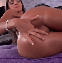 One finger anal insertion