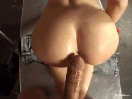 She guides a cock into her ass