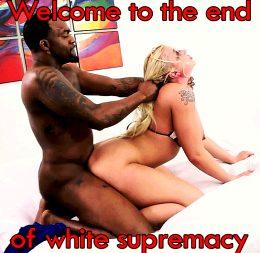 Stupid white bitch slave of big black cock